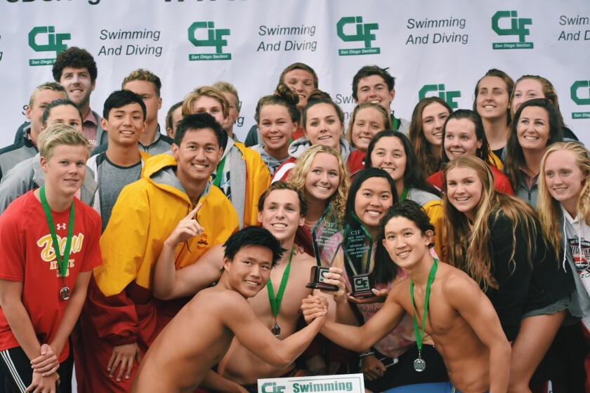 Cathedral Catholic swimmers after winning dual CIF Division II Championships earlier this month.