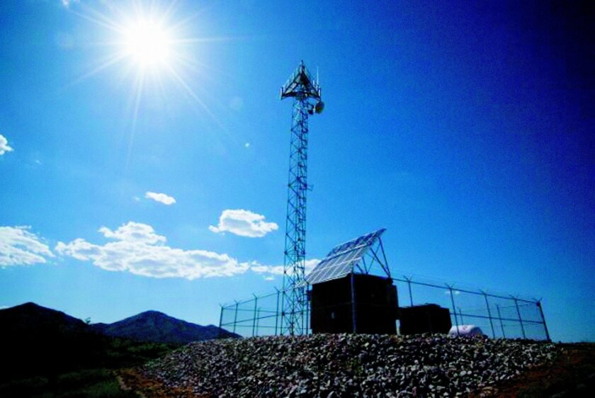 This undated photo shows a prototype of a tower for a virtual fence along the U.S.-Mexico border in Playas, N.M. AP / U.S. Customs and Border Protection photos