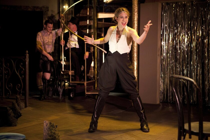 """Karson St. John portrays the Emcee in Cygnet Theatre's production of the musical """"Cabaret."""""""