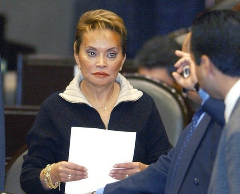 Elba Esther Gordillo, seen in a 2003 photo, has been arrested on accusations that she misused teachers union funds.