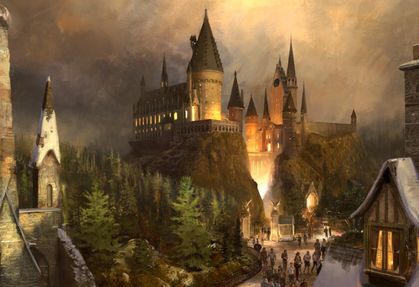 Universal Studios Hollywood has unveiled details of its new Wizarding World of Harry Potter, set to open April 7. The image is an artist's rendering of Hogwarts Castle, a key feature in the new area.