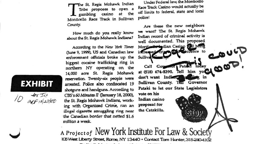"Donald Trump signed off on this ad attacking an Indian tribe as criminals and drug dealers. Below a photo of needles and lines of powder, Trump wrote, ""Roger - this could be good!"""