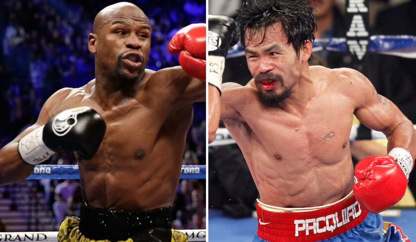 Floyd Mayweather Jr., left, and Manny Pacquiao will fight for the WBC welterweight title on Saturday.