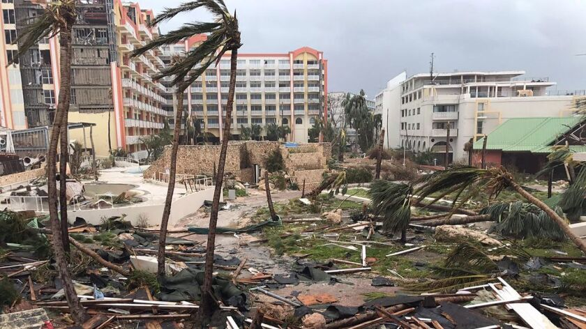 This Sept. 6, 2017 photo shows storm damage in the aftermath of Hurricane Irma in St. Martin. Irma c