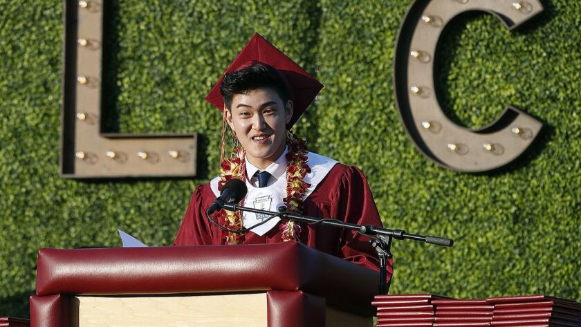 Graduating senior and commencement speaker Kyle Lee at the graduation ceremony for La Canada High Sc