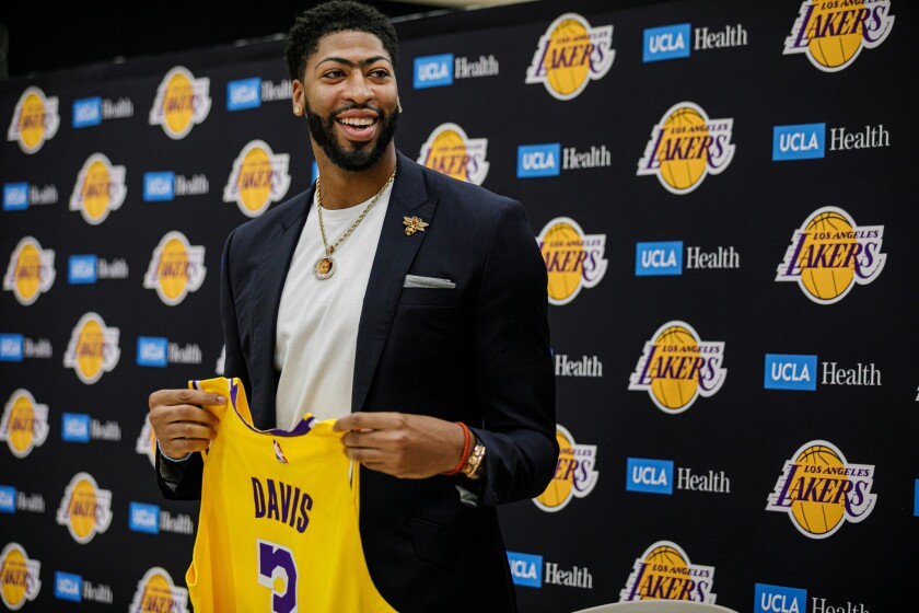The Lakers introduce Anthony Davis at the UCLA Health Training Center in El Segundo on Saturday.