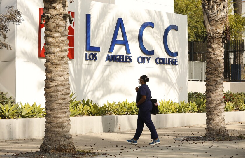 A student walks in front of Los Angeles City College.