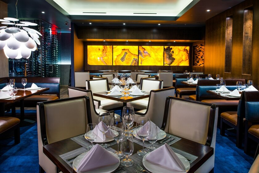 The elegant, clubby dining room at Stake Chophouse, in Coronado.