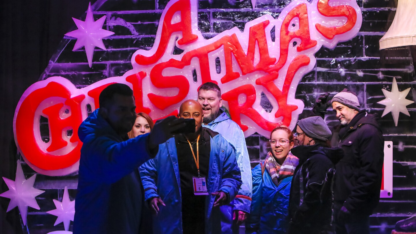 """The """"A Christmas Story,"""" themed ICE attraction at Gaylord Palms Resort photographed on November 14, 2018. This is the first time that the Gaylord chain has based its ICE show on a live action film. ICE runs from November 16 to January 6. (Jacob Langston/Orlando Sentinel)"""