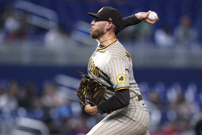 San Diego Padres starting pitcher Joe Musgrove throws during the first inning of the team's baseball game against the Miami Marlins, Friday, July 23, 2021, in Miami. (AP Photo/Lynne Sladky)