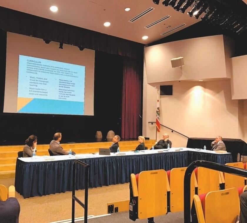 The Rancho Santa Fe School board at the Feb. 2 meeting.