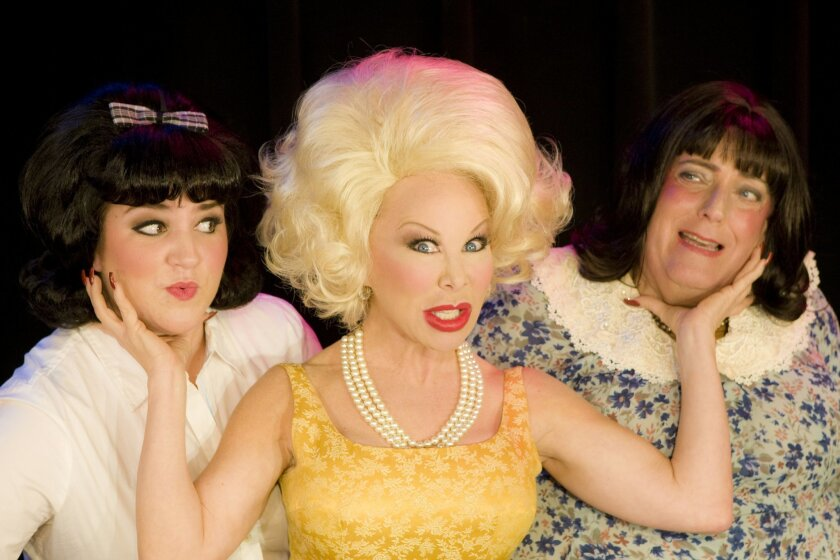 "From left: Bethany Slomka as Tracy Turnblad, Leigh Scarritt as Velma Von Tussle and Peter Van Norden as Edna Turnblad in ""Hairspray.""  J. Katarzyna Woronowicz"
