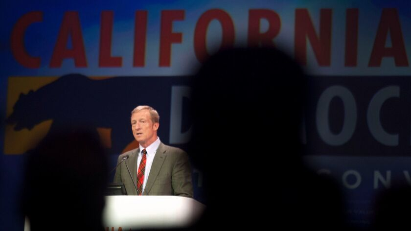 LOS ANGELES CA March 8, 2014 -- Next Generation Co-Founder Tom Steyer speaks at the California Demo