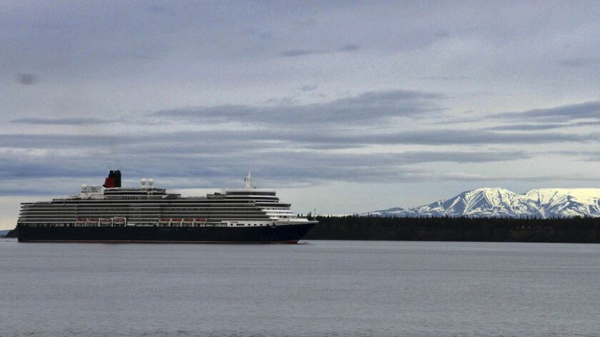 Cunard's Queen Elizabeth sails through Cook Inlet earlier this month. It will serve Alaska this summer.