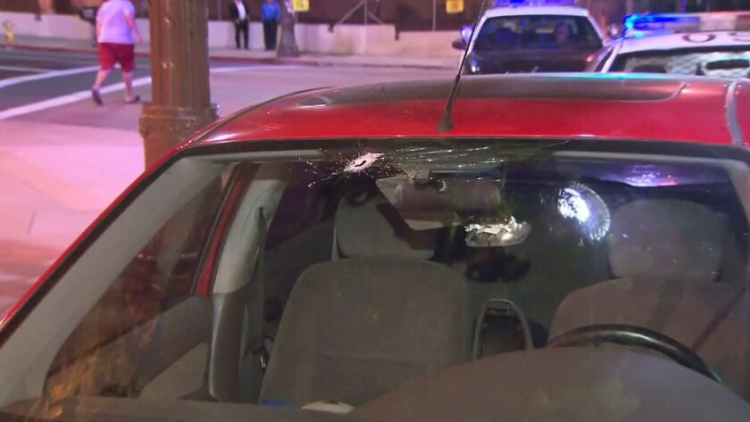 A bullet hole left in a windshield after a shooting Monday night on the 5 Freeway near the Citadel in Commerce.