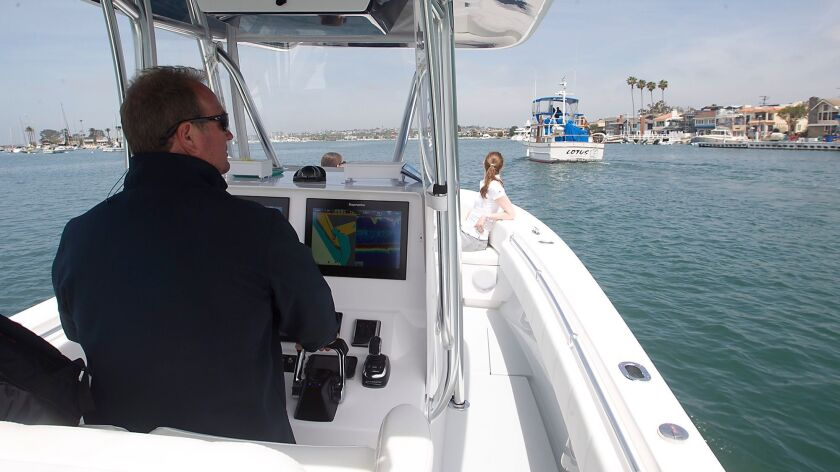Boat captain Pete Nolan drives a Seakeeper, a powerboat equipped with gyro technology that stabilize