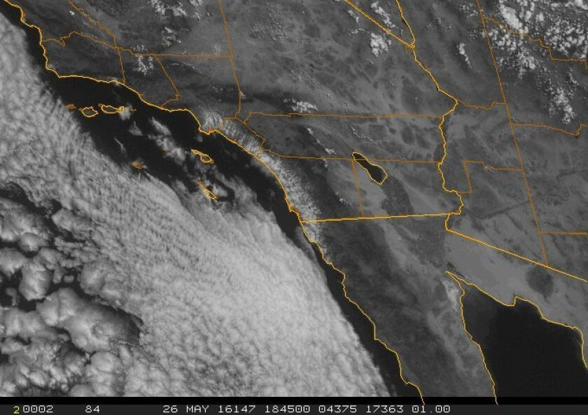 Thick clouds lingered just off the San Diego County coastline on Thursday.