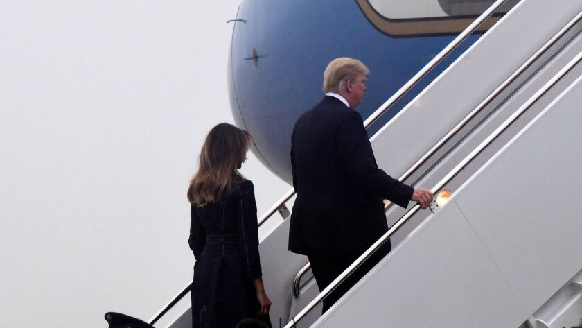 President Donald Trump and first lady depart Joint Andrews Airforce base- DC