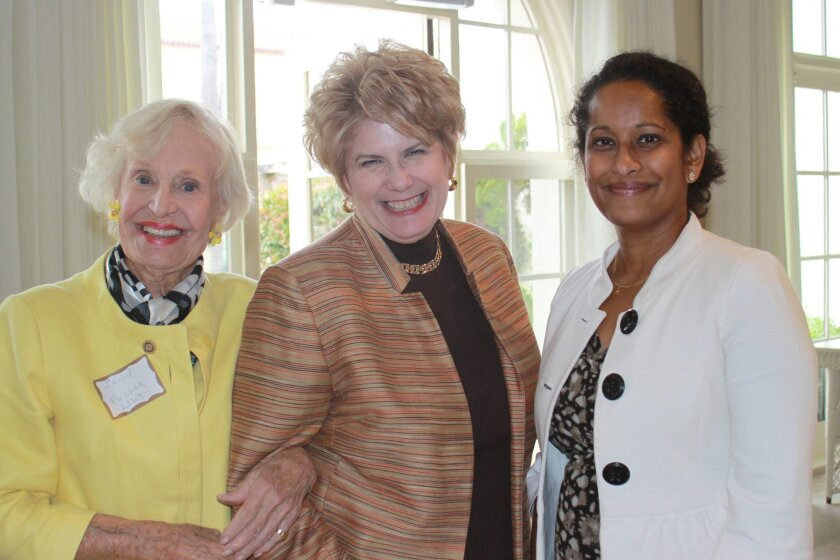 Club member Sally Fuller, District Attorney Bonnie Dumanis and club president Mithu Sherin