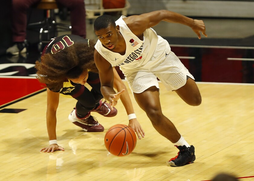 San Diego State freshman guard Lamont Butler steals the ball