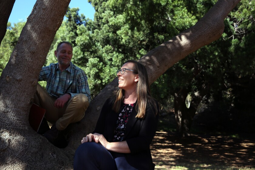 L.A.'s first forest officer Rachel Malarich, right, and Los Angeles city tree surgeon Leon Boroditsky , left, at Chavez Ravine Arboretum in Elysian Park.