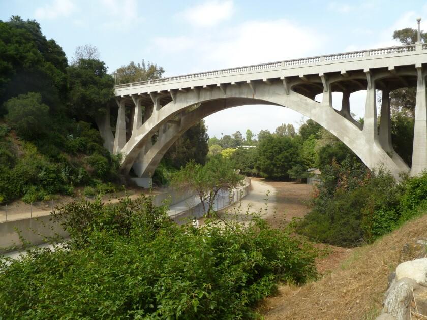 The elegant San Rafael Bridge as it spans the Arroyo Seco.
