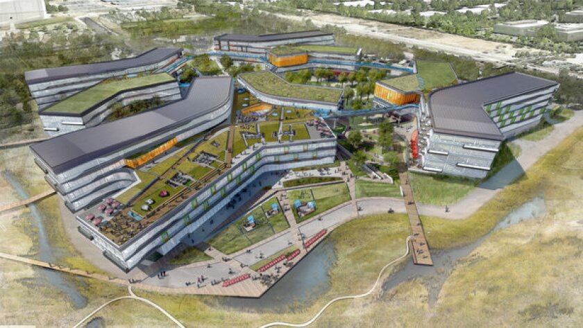 Google is expanding its campus in Mountain View, Calif. Above, a rendering of the new buildings.