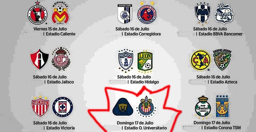 El clásico Pumas vs Chivas acapara miradas en la Jornada 1 del Torneo Apertura 2016.
