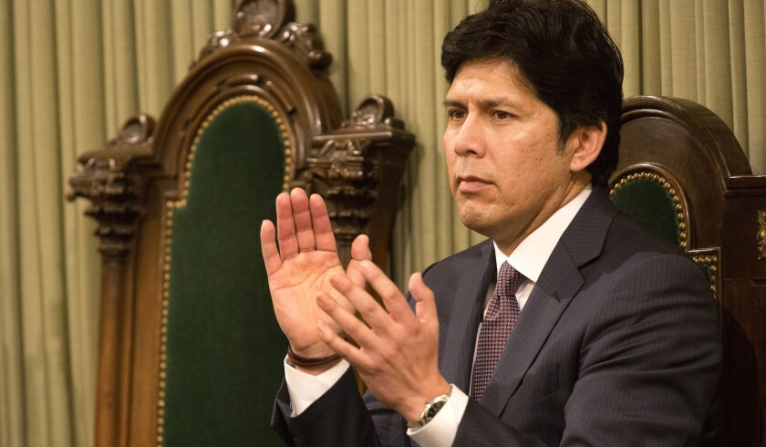 Kevin de Leon applauds during Gov. Jerry Brown's state-of-the-state speech on Jan. 21.