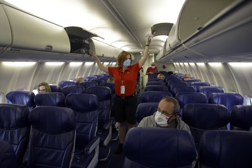 In this May 24, 2020 file photo, a Southwest Airlines flight
