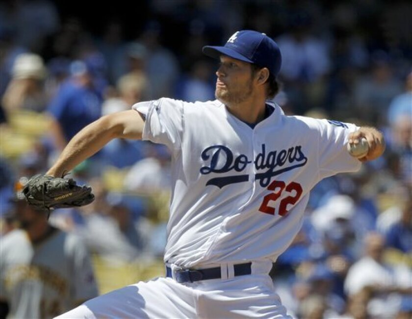 Los Angeles Dodgers starting pitcher Clayton Kershaw throws to the Pittsburgh Pirates during the second inning of a baseball game in Los Angeles, Tuesday, April 10, 2012. (AP Photo/Chris Carlson)
