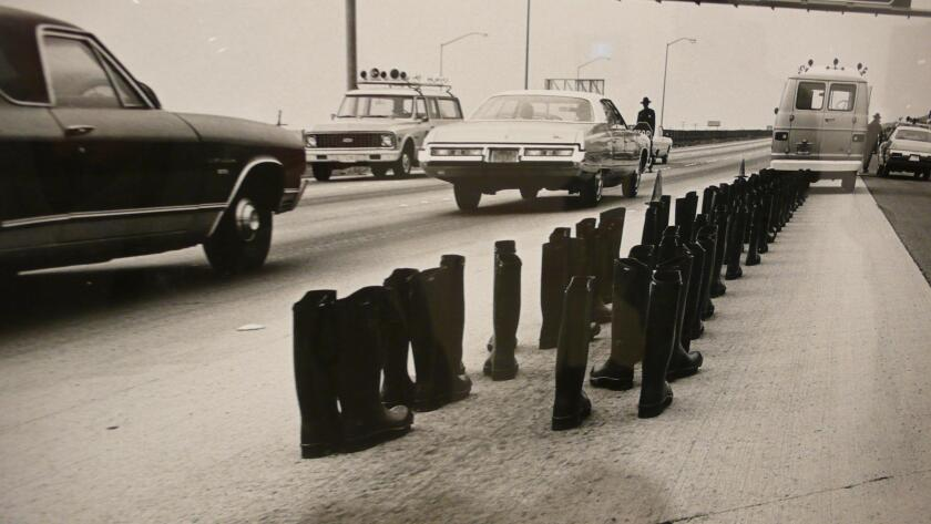 """'100 Boots' by Eleanor Antin is part of the exhibit, """"Stories That We Tell: Art and Identity,"""" through March 3, 2018 at UC San Diego's University Art Gallery."""