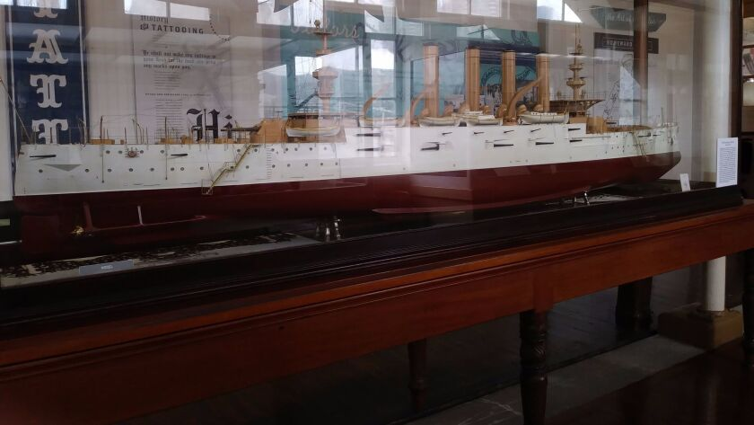 The Maritime Museum of San Diego has a 12-foot model of the World War I-era armored cruiser San Dieg