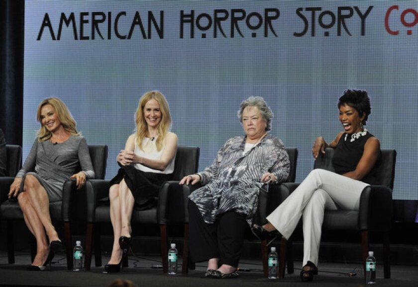 """""""American Horror Story: Coven"""" cast members Jessica Lange, from left, Sarah Paulson, Kathy Batesand Angela Bassett attend a panel discussion on the show at the FX 2013 Summer TCA press tour at the Beverly Hilton Hotel on Friday, Aug. 2, 2013, in Beverly Hills."""
