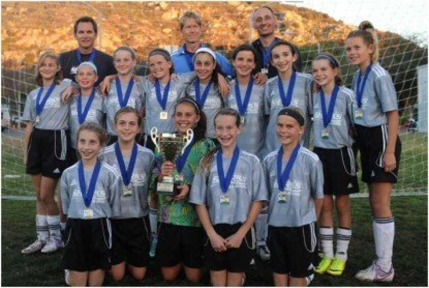 Front row (from left): Dani Anapoell, Katie Nichols, Devin Jansen (holding the trophy), Alexa Laurie, and Lily Kriege. Middle row (from left): Annie Ingrassia, Sydney Ang, Mia Kohn, Renza Milner, Graciela Mussali, Bella Simon, Andrea Gitler, Delaney Parish and Zoe Bandell. Also on the team but not present in Escondido were Tzippy Moehringer and Olivia Pessanha. Back row (from left): Coaches Paul Ang, Richard Milner and Michael Bandell.