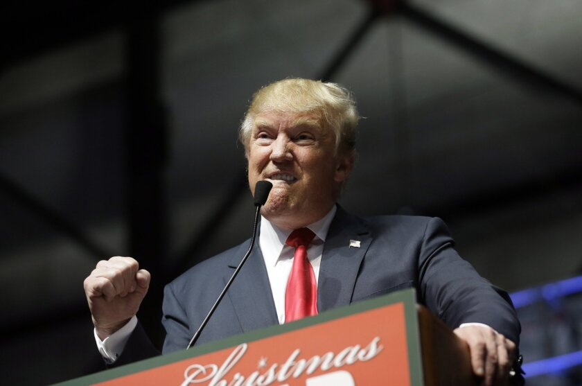Donald Trump addresses supporters at a campaign rally in Grand Rapids, Mich. on Dec. 21.