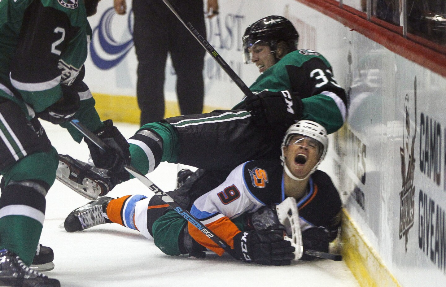 The Gulls' Kevin Roy reacts to the Texas Stars' Niklas Hansson falling on his back during the third period.