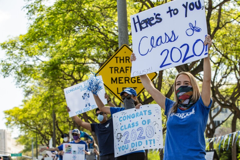 The staff and faculty of Cal State San Marcos celebrated the Class of 2020 with a parade on Friday, May 15, 2020.