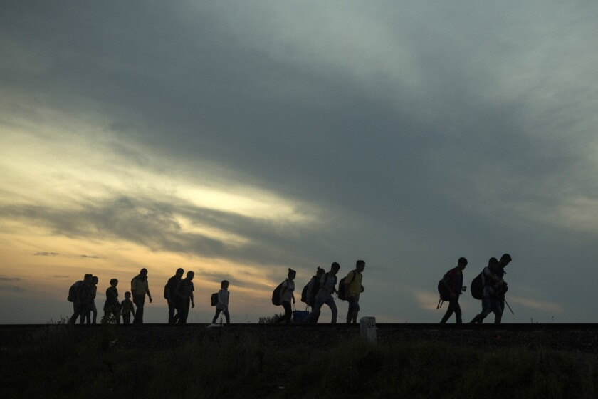 A group of refugees earlier this month walks along railway tracks near the town of Roszke, Hungary, after crossing the border from Serbia.