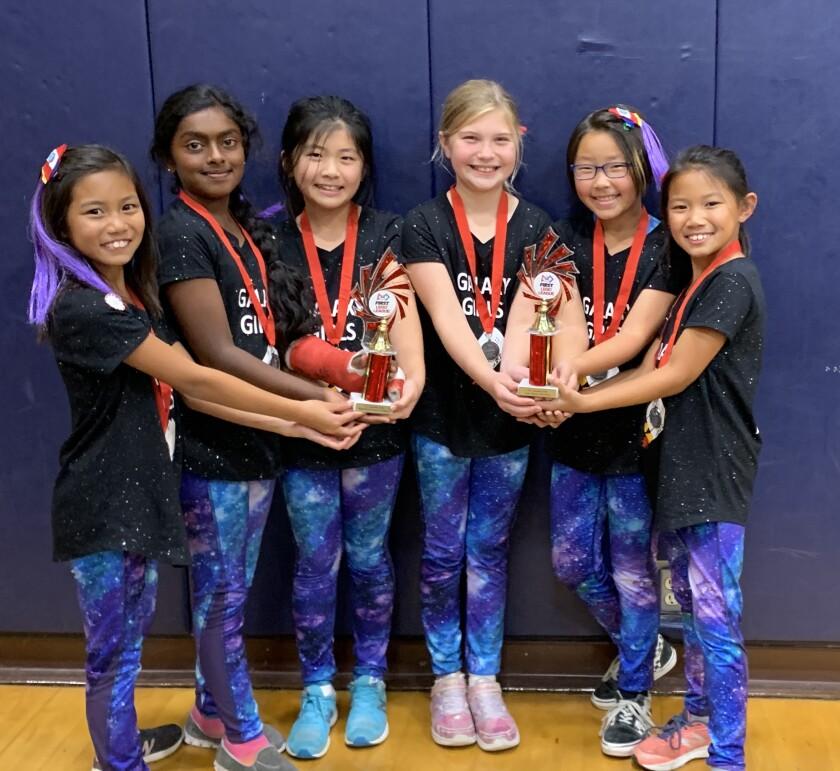 Galaxy Girl team members Audrey Young, Disha Ramachadran, Kaylee Kim, Emily Cameron, Joanna Kim and Phoebe Young.