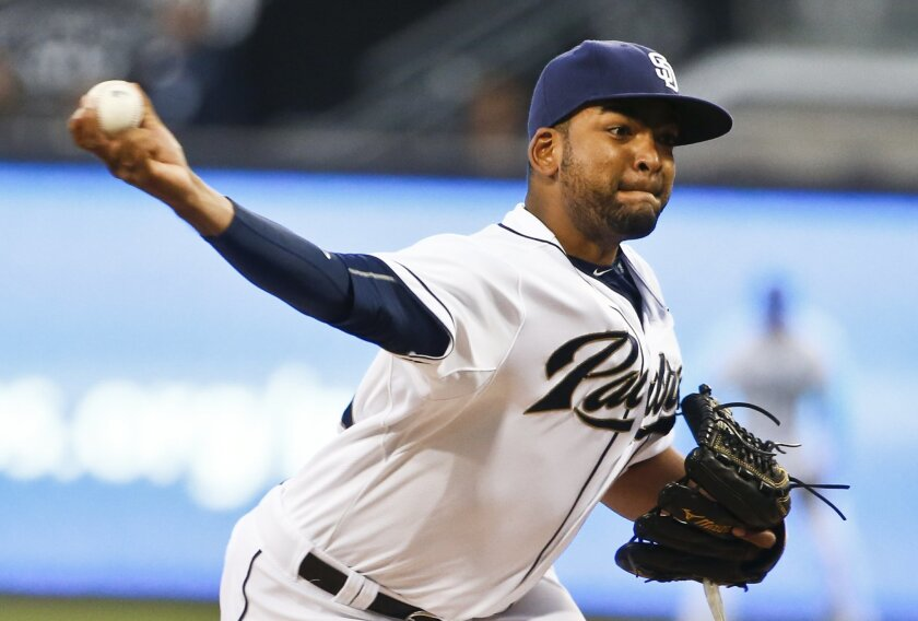 San Diego Padres starting pitcher Odrisamer Despaigne works against the Arizona Diamondbacks in the first inning of a baseball game Tuesday April 14, 2015 in San Diego. (AP Photo/Lenny Ignelzi)