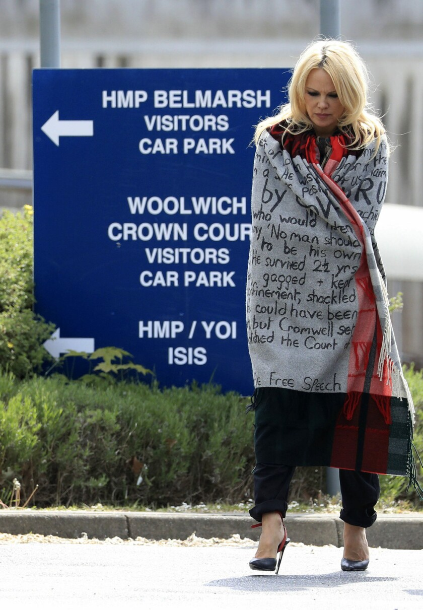 US actress Pamela Anderson leaves Belmarsh Prison in south-east London, after visiting WikiLeaks fou