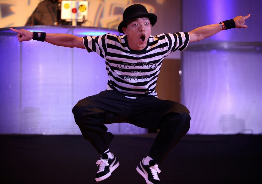 """""""Leenu"""" aka In Woo Lee of South Korea competes in a locking battle at the World Hip Hop Dance Championships at Harrah's Resort Southern California."""