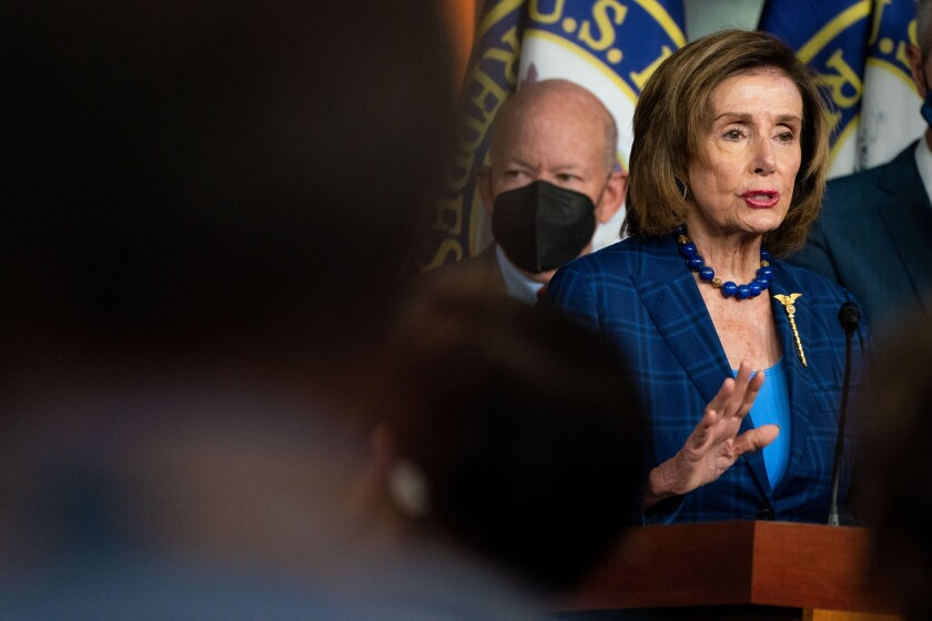 House Speaker Nancy Pelosi delivers remarks at a news conference at the Capitol on July 30.