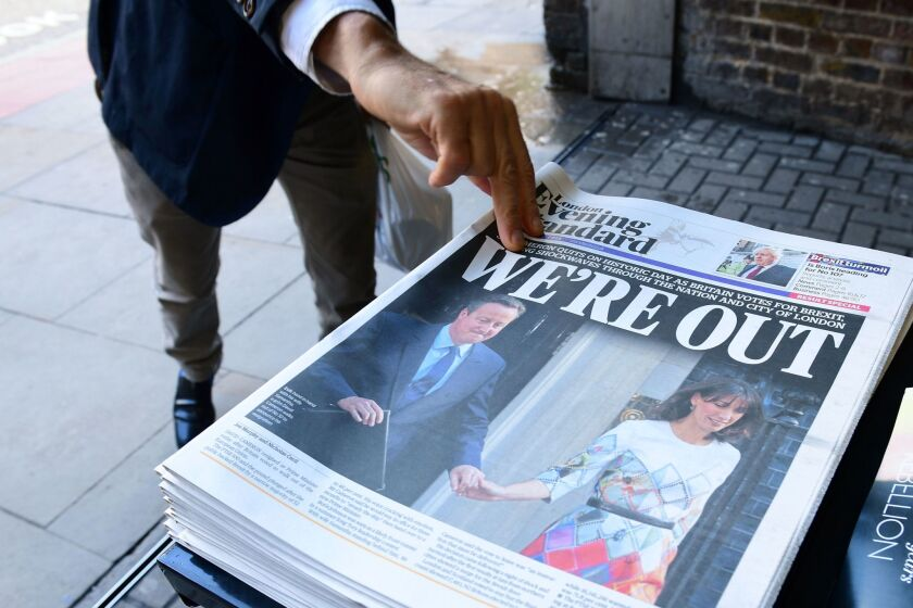 The front page of the London Evening Standard on Friday featured the resignation of British Prime Minister David Cameron and the vote to leave the EU.