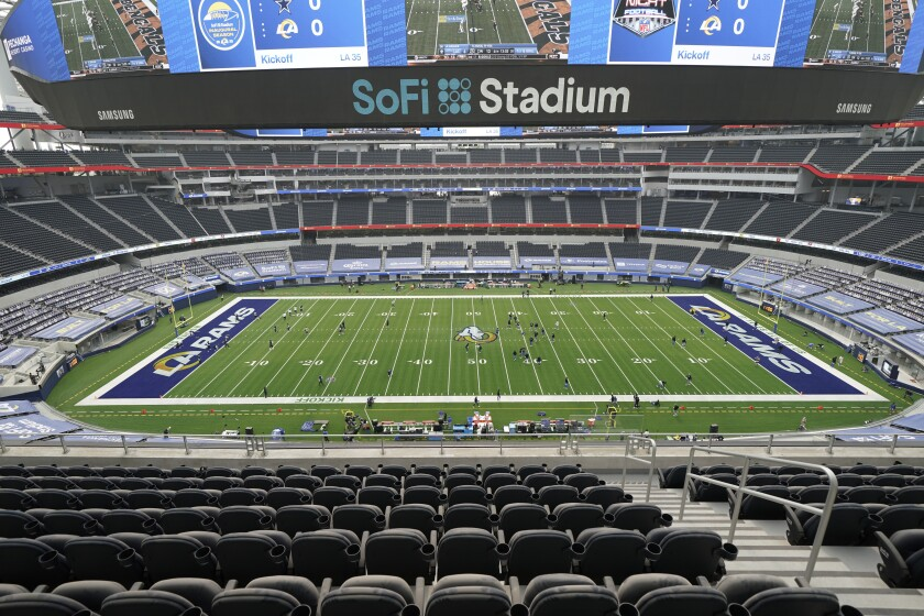 The interior of SoFi Stadium is shown before the Rams-Cowboys game Sunday night in Inglewood.