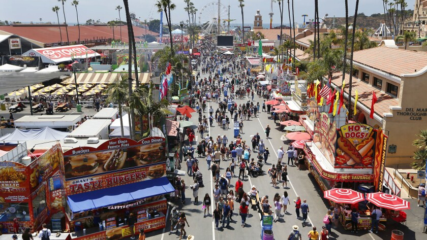 The San Diego County Fair, seen in a file photo from 2017, will not be held this year. The Fair Board unanimously voted to suspend the event on Tuesday following Gov. Gavin Newsom's statement about large public gatherings being unlikely in the near future.