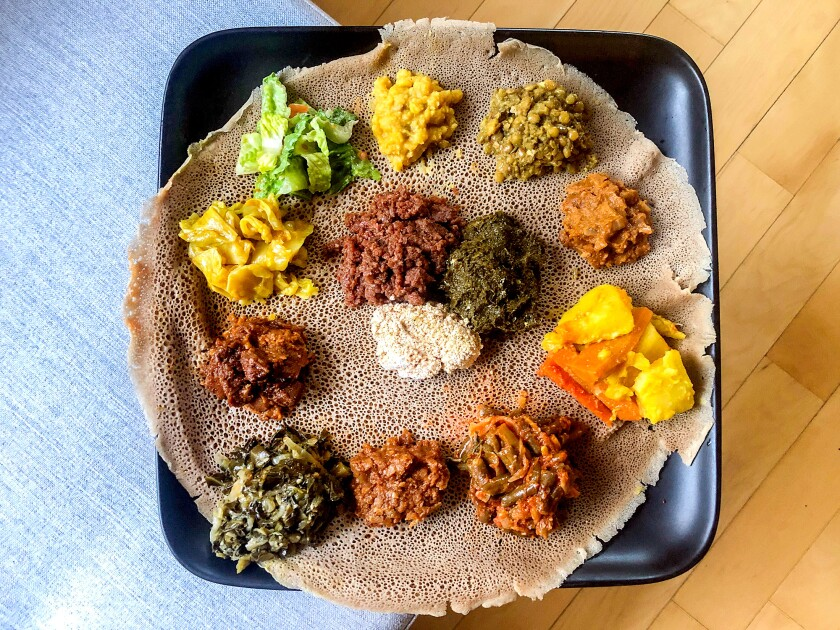 Vegetarian utopia takeaway platter from Lalibela in Little Ethiopia, replated at home.