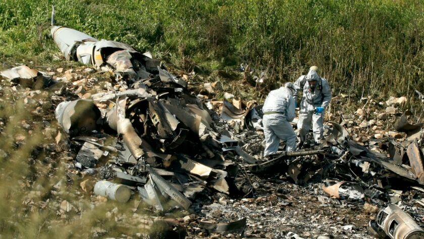 The remains of an Israel F-16 in the northern Israeli Kibbutz of Harduf in February after it was downed by Syrian antiaircraft missile — the first air force jet lost by Israel since the Lebanon war in 1982.