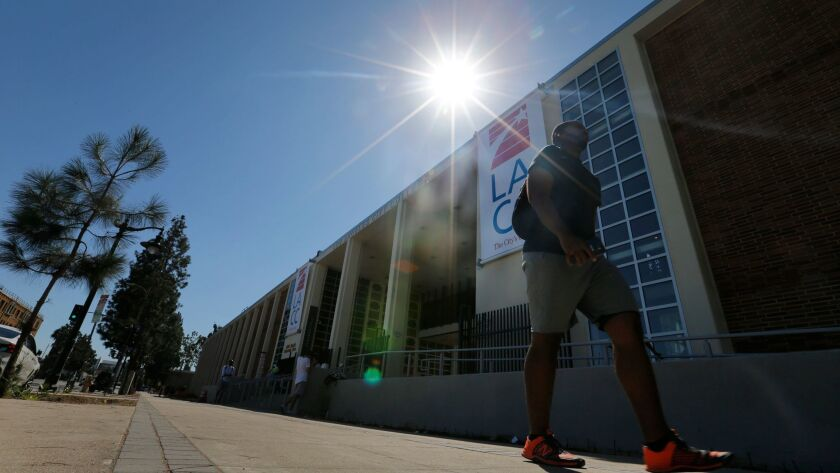 Students walk between classes at Los Angeles City College